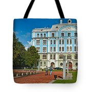 Garden In Front Of An Education Tote Bag