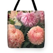 Garden Of Mixed Pink Chrysanthemums Tote Bag