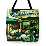 Garden Party Celebrations Under The Cool Green Umbrellas Of Restaurant Chase Cafe Art Scene Tote Bag