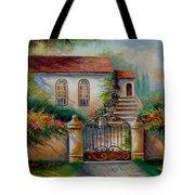 Garden Scene With Villa And Gate Tote Bag