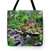Garden Waterfall And Pond Tote Bag