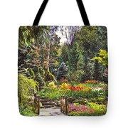 Garden With A Bridge Tote Bag