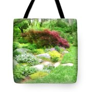 Garden With Japanese Maple Tote Bag