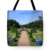 Gardenpath With Blue Gates - Burgundy Tote Bag