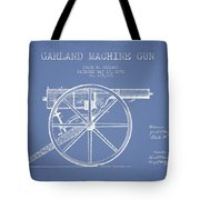 Garland Machine Gun Patent Drawing From 1892 - Light Blue Tote Bag