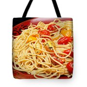Garlic Pasta And Grape Tomatoes Tote Bag by Andee Design