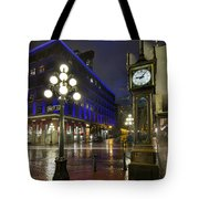 Gastown Steam Clock On A Rainy Night Tote Bag
