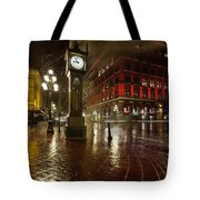 Gastown Steam Clock On A Rainy Night Vertical Tote Bag