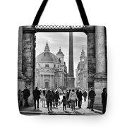 Gate To Piazza Del Popolo In Rome Tote Bag