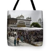 Gathering Inside The Golden Temple In Amritsar Tote Bag