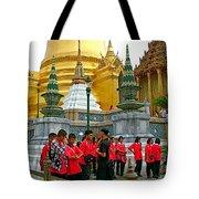 Gathering Near Pagodas Of Grand Palace Of Thailand In Bangkok Tote Bag