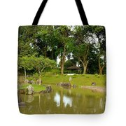 Gazebo Trees Lake And Rock Garden In Singapore Chinese Gardens Tote Bag