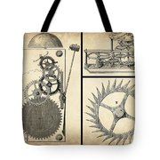 Gears Industrial Or Steampunk Collage Art Tote Bag