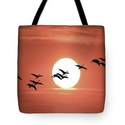Geese Against The Sun Tote Bag