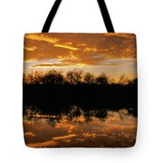 Geese Fly In The Sunset Tote Bag