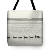 Geese In A Row Tote Bag