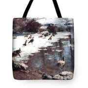 Geese On An Icy Pond Tote Bag