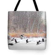 Geese Over Maumee River Tote Bag