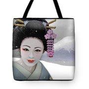 Geisha In Snow On Mt. Fuji Tote Bag