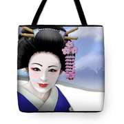 Geisha On Mount Fuji Tote Bag