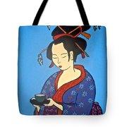 Geisha With Cup Tote Bag