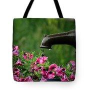 Gentle Rain - Old Water Pump - Pink Petunias - Casper Wyoming Tote Bag