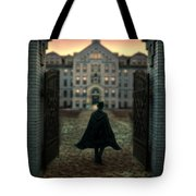 Gentleman In Top Hat And Cape Walking Through Gates Tote Bag