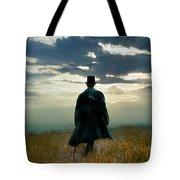 Gentleman In Top Hat Walking In Field Tote Bag