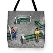 Geo Benches Tote Bag by Peter Piatt