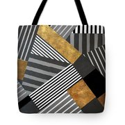 Geo Stripes In Gold And Black II Tote Bag