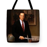 George Hw Bush Presidential Portrait Tote Bag by War Is Hell Store