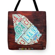 Georgia The Peach State License Plate Map On Fruitwood Tote Bag