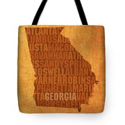 Georgia Word Art State Map On Canvas Tote Bag by Design Turnpike