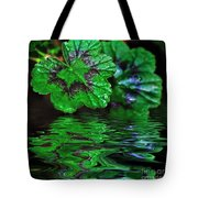 Geranium Leaves - Reflections On Pond Tote Bag