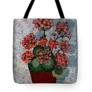 Geraniums In A Copper Pot Tote Bag