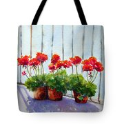 Geraniums On My Balcony Tote Bag