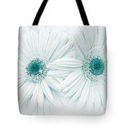 Gerber Daisy Flowers In Teal Tote Bag