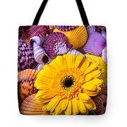 Gerbera With Seashells Tote Bag