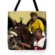 Getting Ready - Jockey And Horse For The Race Tote Bag