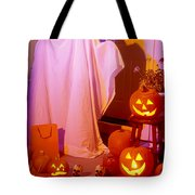 Ghost With Pumpkins Tote Bag by Garry Gay