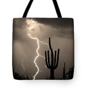 Giant Saguaro Cactus Lightning Strike Sepia  Tote Bag by James BO  Insogna