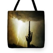 Giant Saguaro Lightning Spiral Fine Art Photography Print Tote Bag