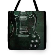 Gibson Sg Standard Green Grunge With Skull Tote Bag