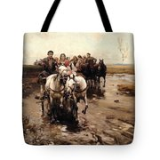 Giddy Up Tote Bag by Alfred von Wierusz-Kowalski