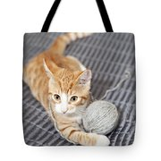 Ginger Cat With Yarn Ball Tote Bag