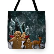Gingerbread Family In Snow Tote Bag