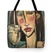 Gingham Girl With Wineglass Tote Bag