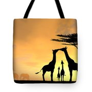 Giraffe Family Love Two Kids Tote Bag
