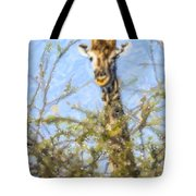 Giraffe Giraffa Camelopardalis Peeping From Acacia Tote Bag