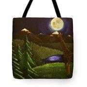 Giraffe In The Moonlight Tote Bag